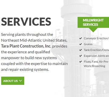 Tara Plant Construction, Inc. - Serving plants throughout the Northeast Mid-Atlantic United States - West Springfield, MA - Mechanical Construction, Millwright Services, Boiler Repairs, Pressure Piping, Power Piping, Structural Steel Services, Plant Support, power plant services, list of mechanical contractors, mechanical contractors near me, industrial boiler repair service near me, commercial boiler repair, boiler repair services, boiler maintenance services